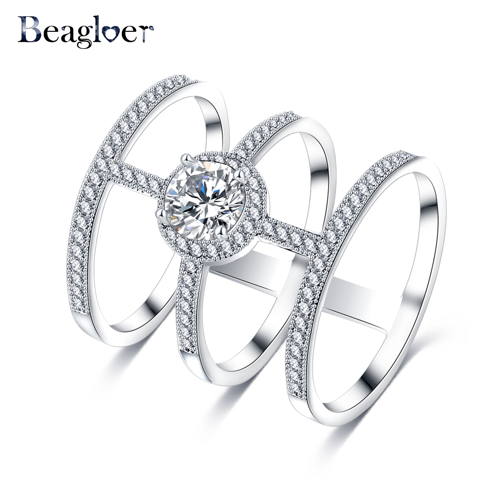 Beagloer Latest Design 3 Circle Connected Ring Silver Color Round AAA Zircon Big Rings Party Jewelry For Women CRI0334-B