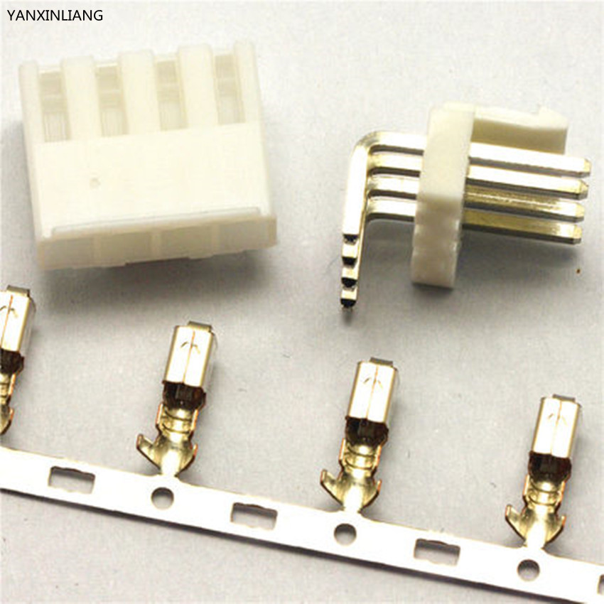 20 Setleri VH3.96 4Pin Connector Kit Pitch 2.54mm Sağ Açı Pin Header + Terminal + Konut (VH-4AW + VH-4Y + Terminal)