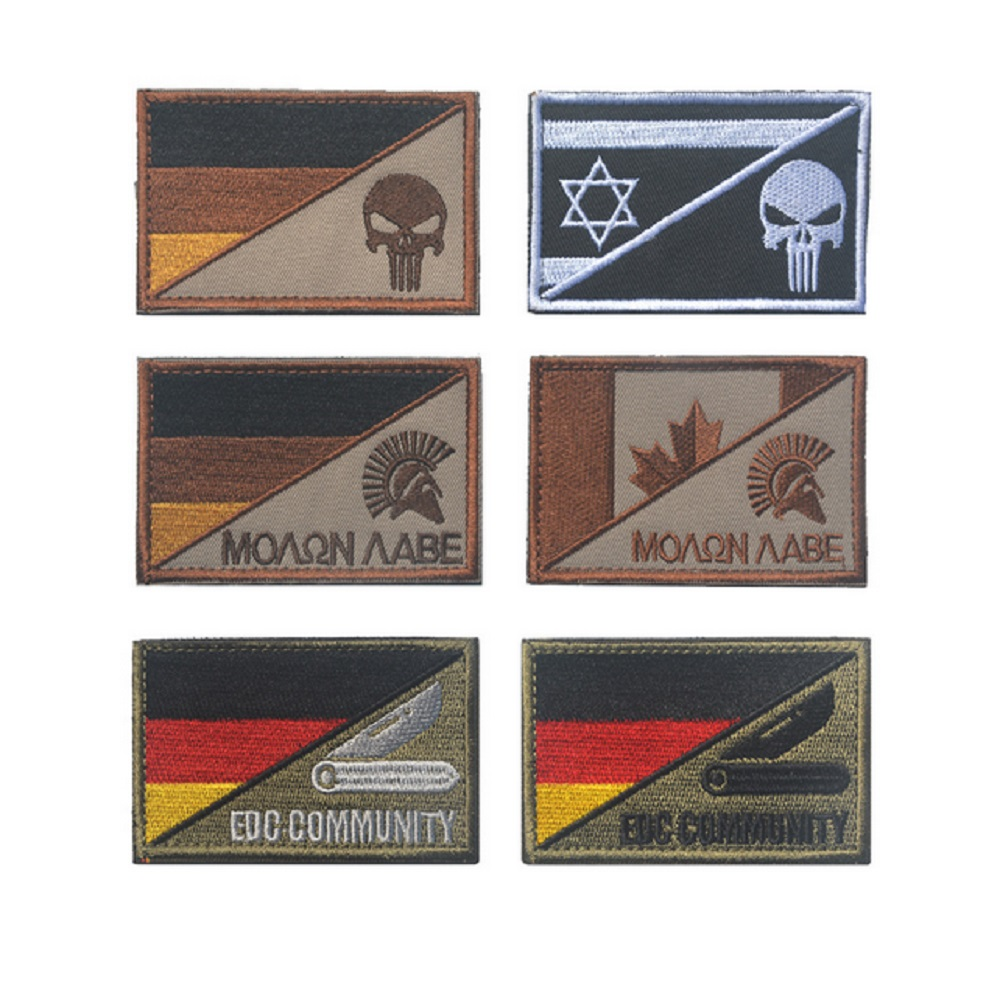 Ten piece a lot 3Dembroidery patches loops and hook German flag/Sparta patches badges the punisher patches NAVY SEALS patch