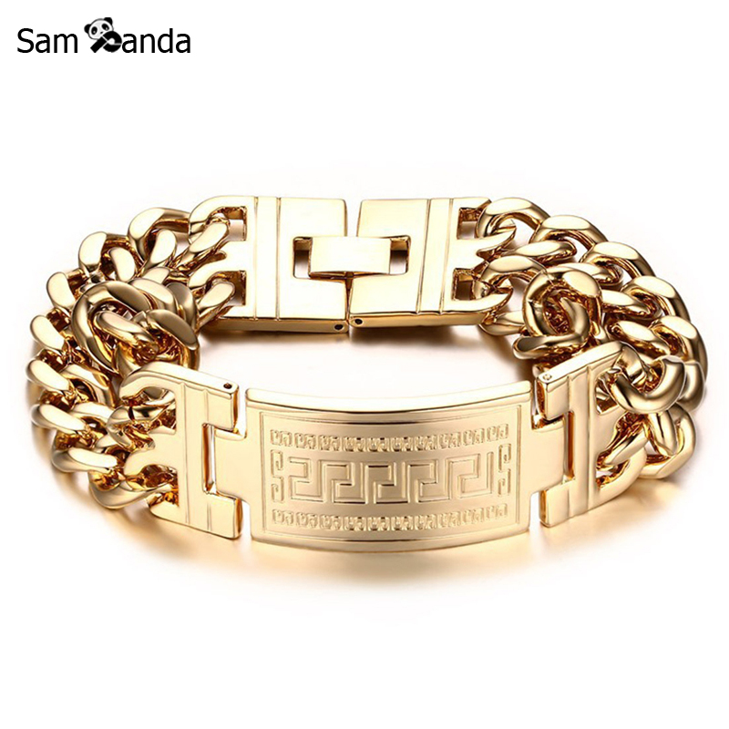 Mens Bracelets Stainless Steel Greece Key ID Bracelet for Men Double Cuba Chain Fashion Jewelry Bold and Chunky MCC0259