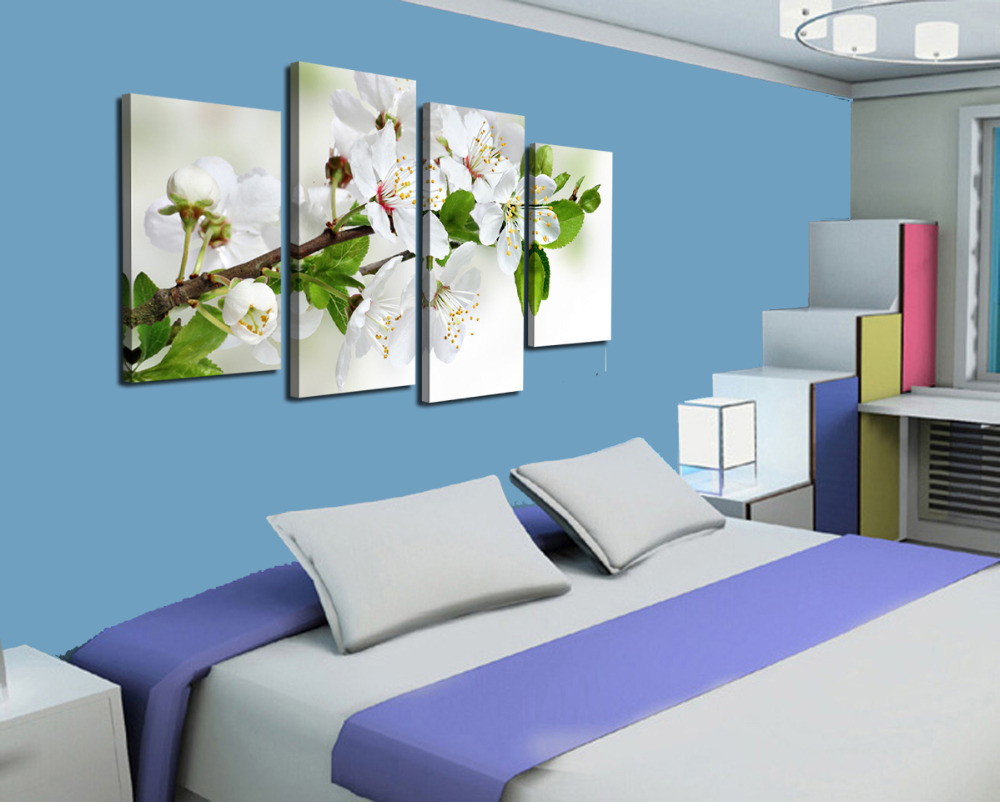 AtFipan White Flowers Print Painting Modern Picture Canvas Unframed Wall Pictures For Living Room Vintage Modular Wall Paintings