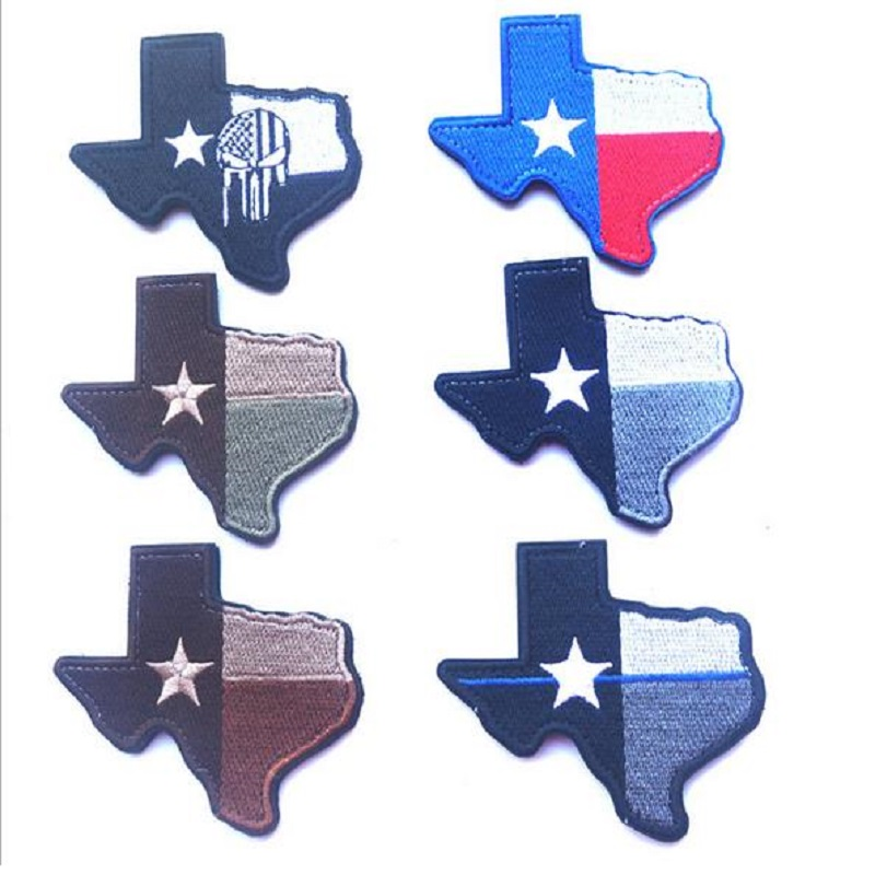 100pcs/lot 3D Embroidery patches Loop And Hook Texas state Topographic map patches Texas state flag patches