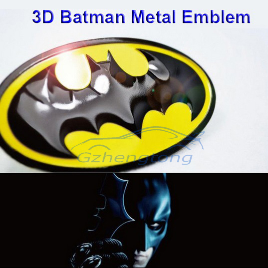 1X 3D Batman Gobo Sembol Metal Alaşım Amblem Badge Sticker Çıkartma Honda Toyota Dodge Ford BENZ VW