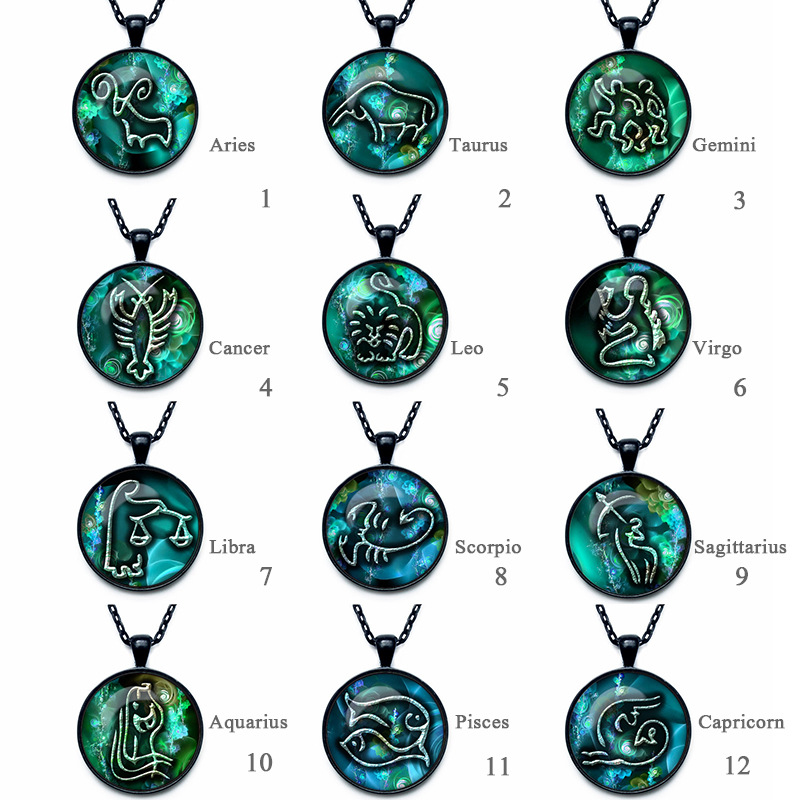 PAPAPRESS 25mm Collares Collier 12pcs/lot Mixed Constellation Design Necklace Glass Photo Vintage Black Pendant Jewelry W352